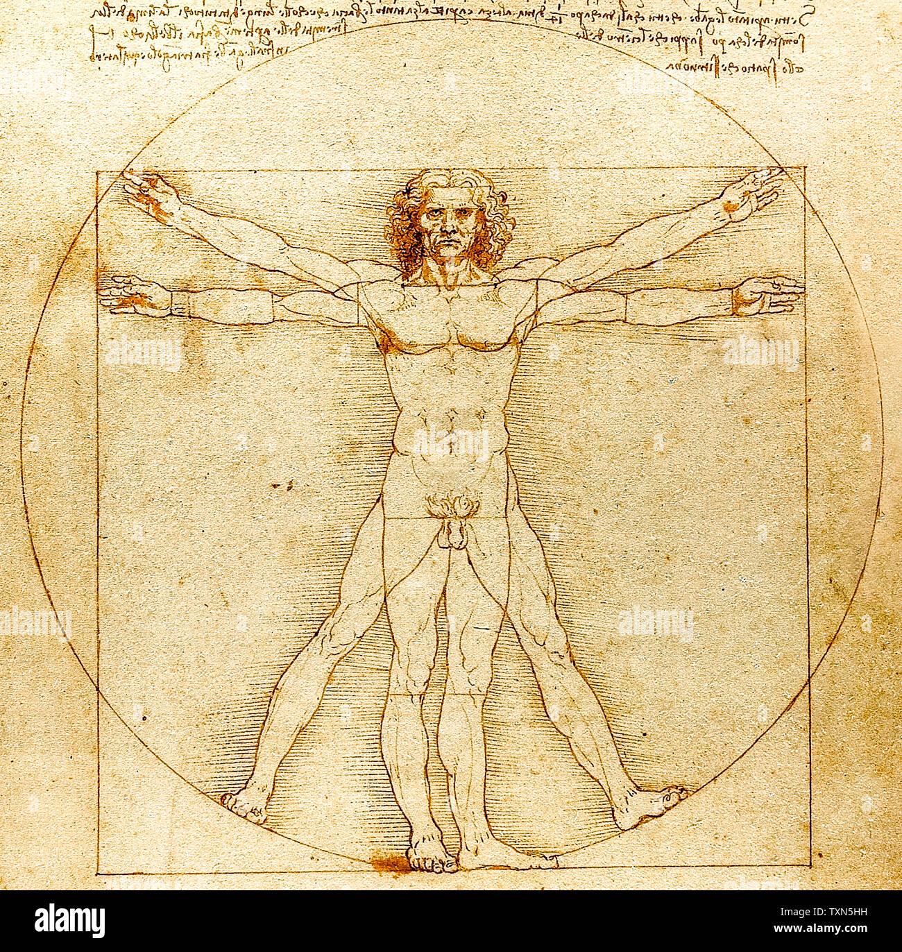 Léonard de Vinci, homme de Vitruve, dessin, vers 1492 Banque D'Images