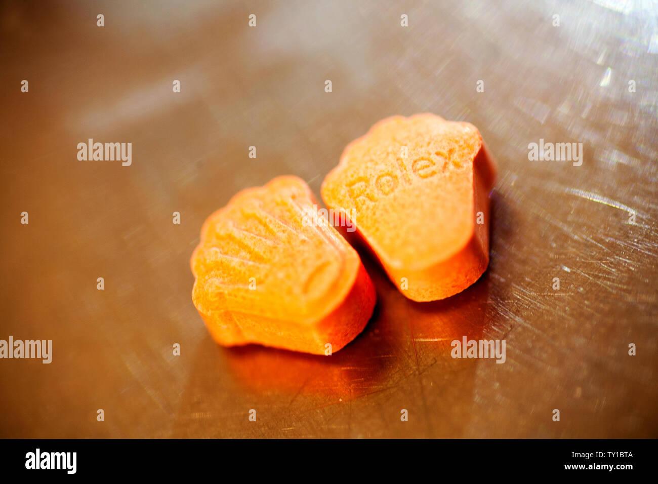 La MDMA Extasy macro fond fine art dans des impressions de haute qualité Banque D'Images