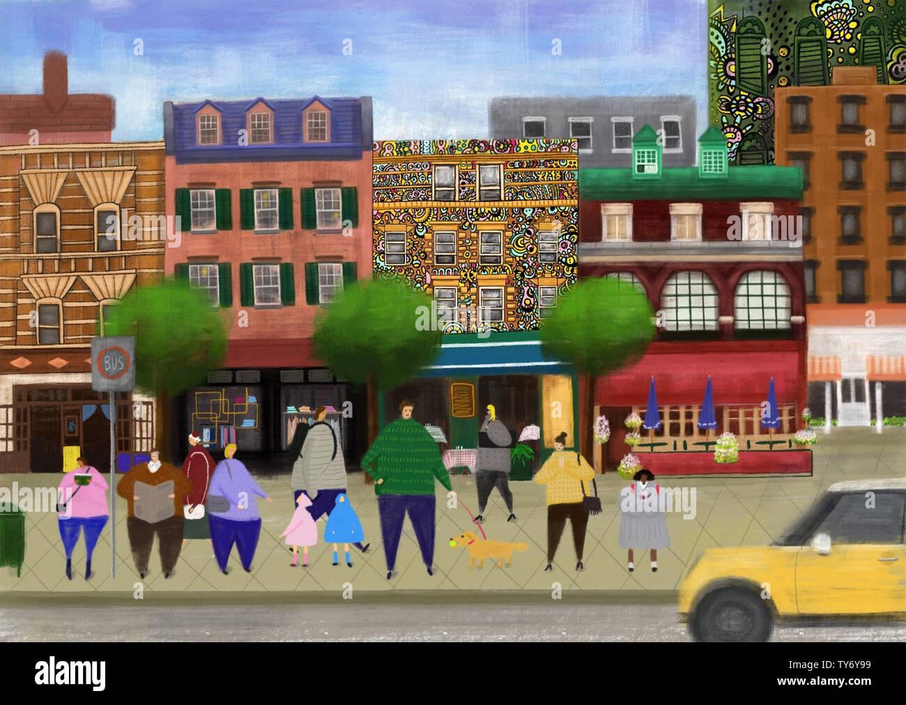 Petite ville de bus arrêt de bus en attente d'illustration Banque D'Images