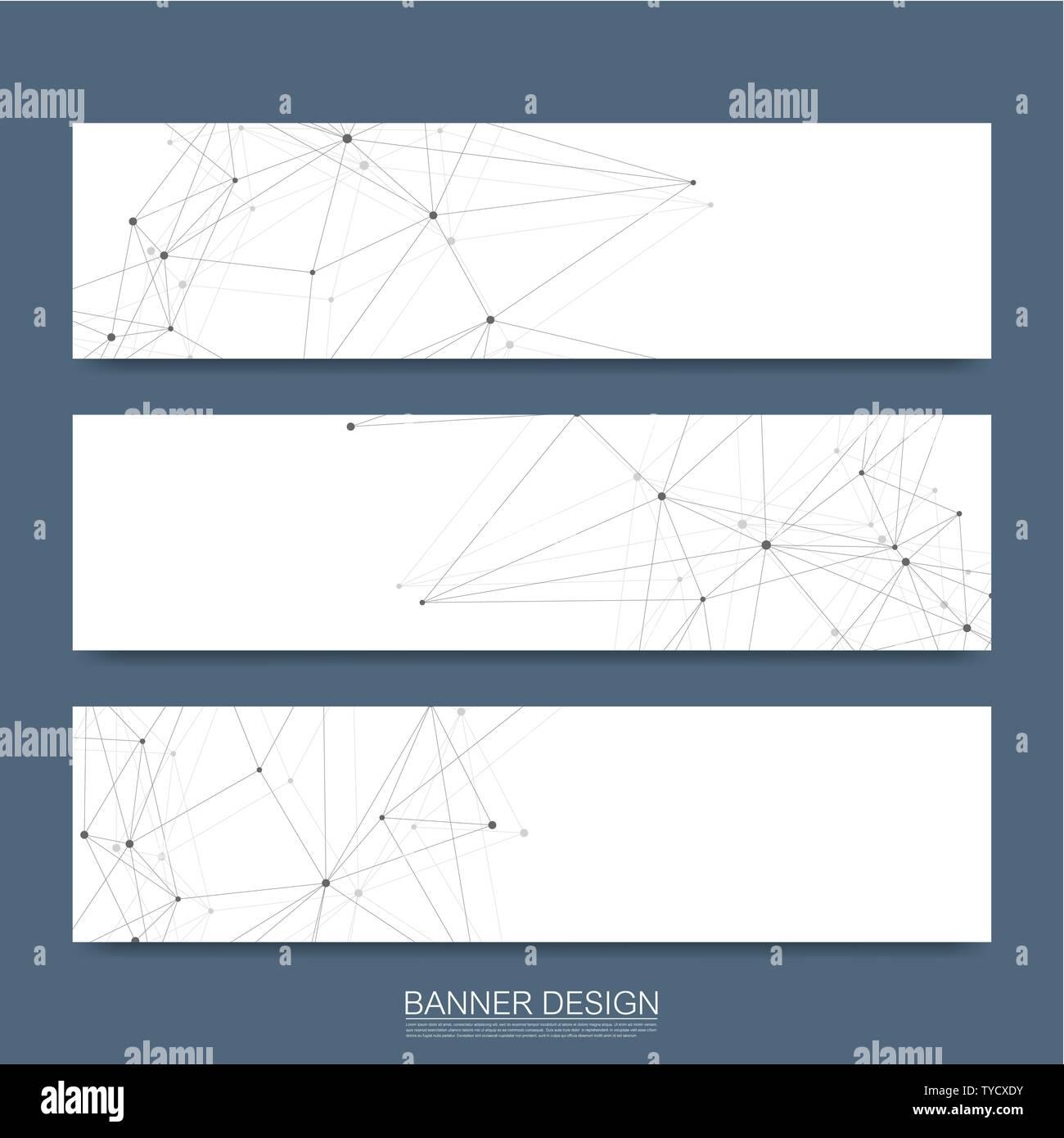 Molécules abstraites avec bannières lignes, points, cercles, polygones. Arrière-plan de communication réseau conception de scénario. Digital science futuriste Illustration de Vecteur