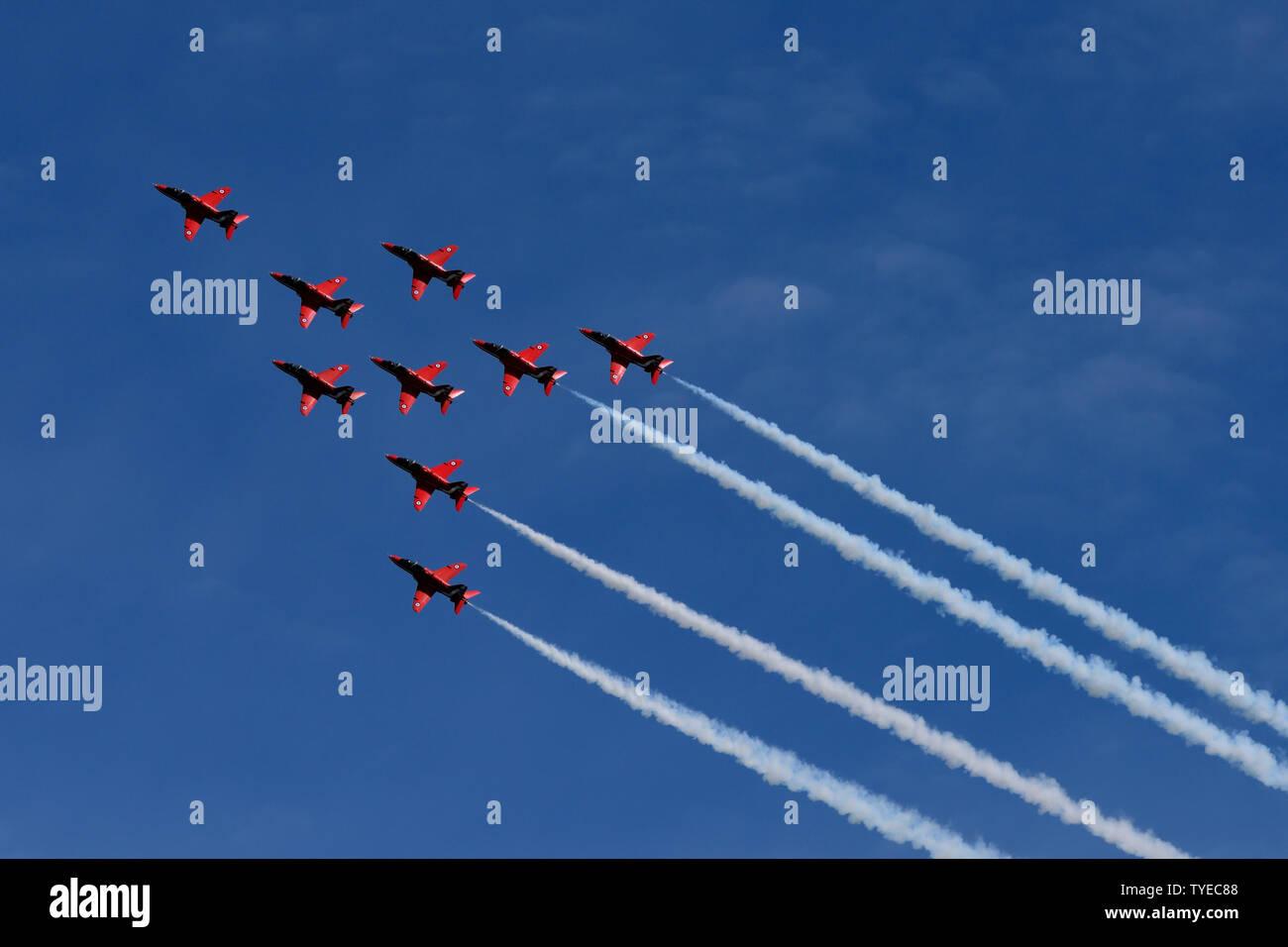 Les flèches rouges à Torbay Air show 2019 Banque D'Images