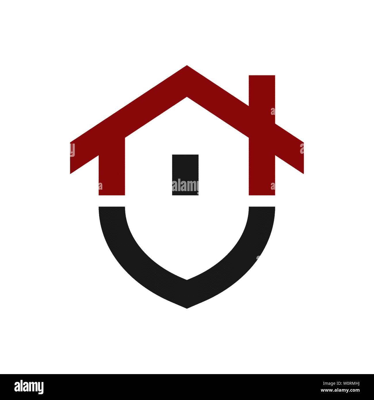Home protection logo design modèle. Bouclier vecteur illustration logotype et de la chambre. Accueil graphique icône de sécurité label. Bâtiment moderne, symbole de l'alarme Illustration de Vecteur