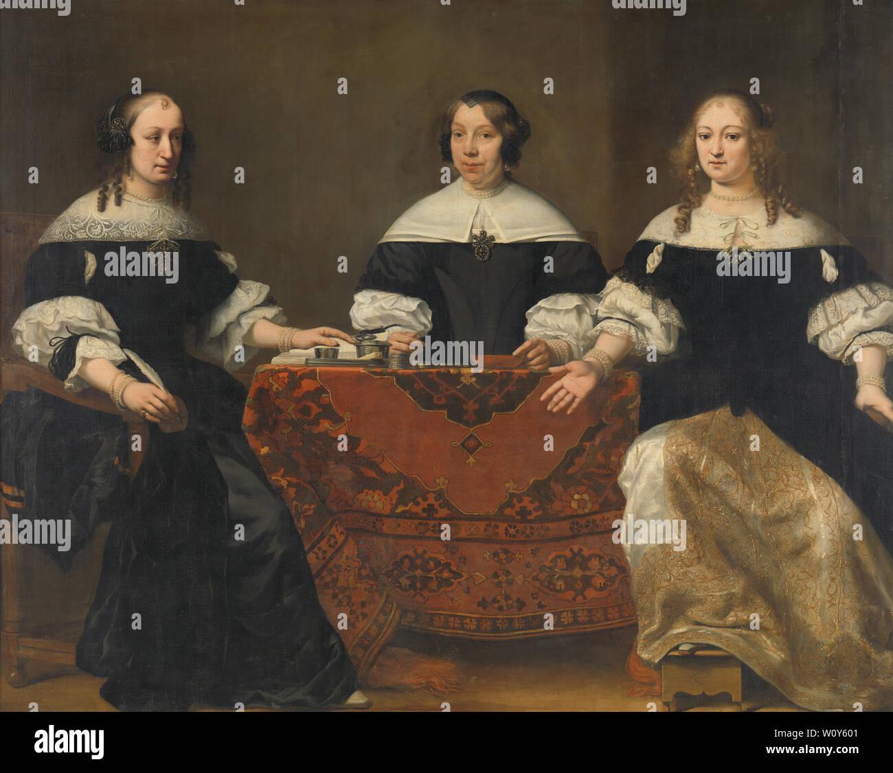 Portrait des trois Regentesses du Leprozenhuis, Amsterdam (1668). Bol, Ferdinand Photo Stock
