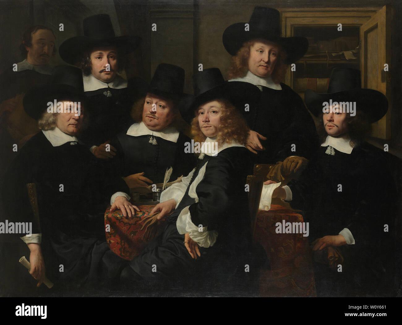 Six régents et le bedeau du Nieuw Zijds Institut pour la piscine de secourir les pauvres, Amsterdam, 1657. Bol, Ferdinand Photo Stock