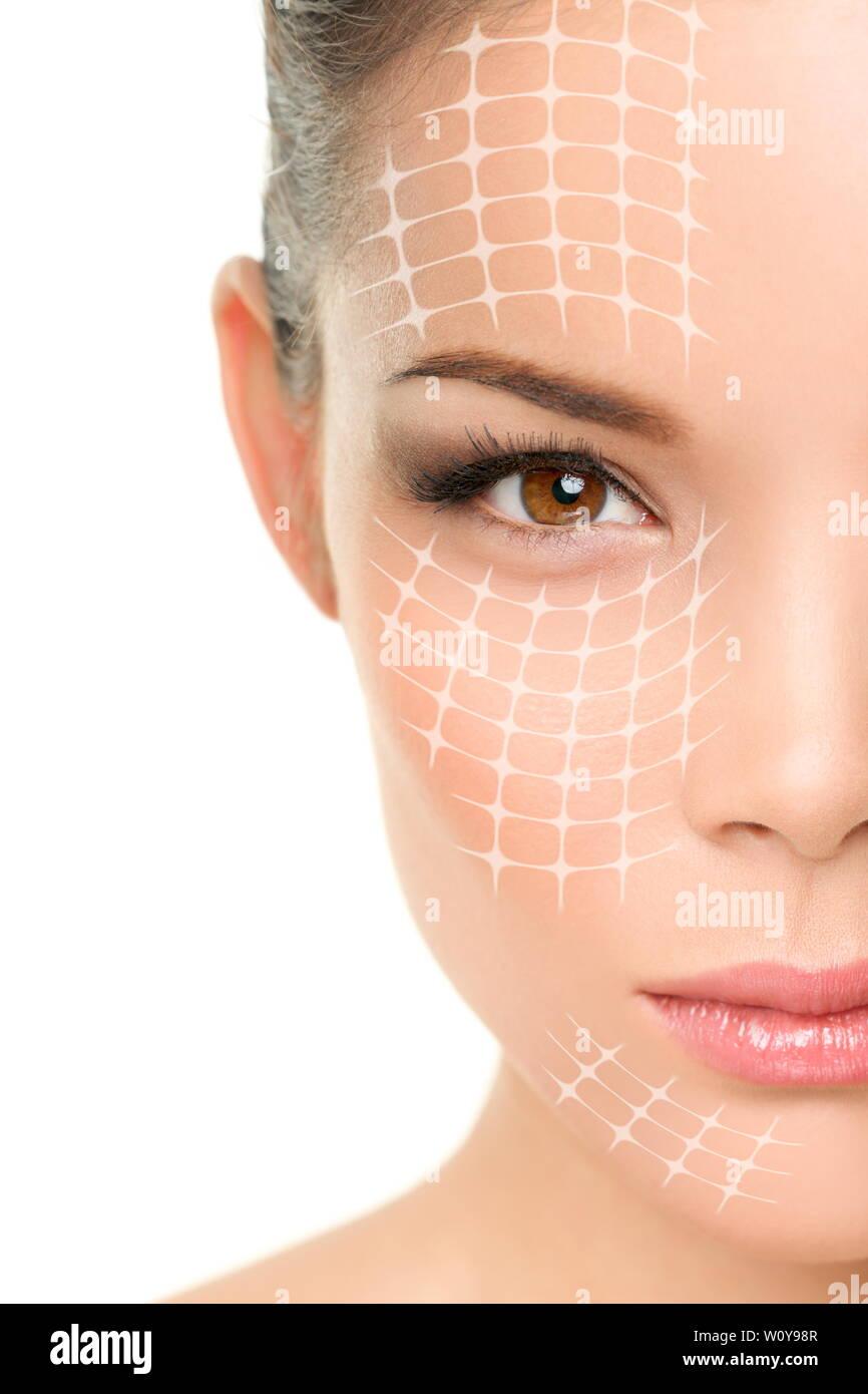 Ascenseur de visage traitement anti-vieillissement - Asian woman portrait avec des lignes graphiques montrant la levée du visage d'effet sur la peau. Banque D'Images