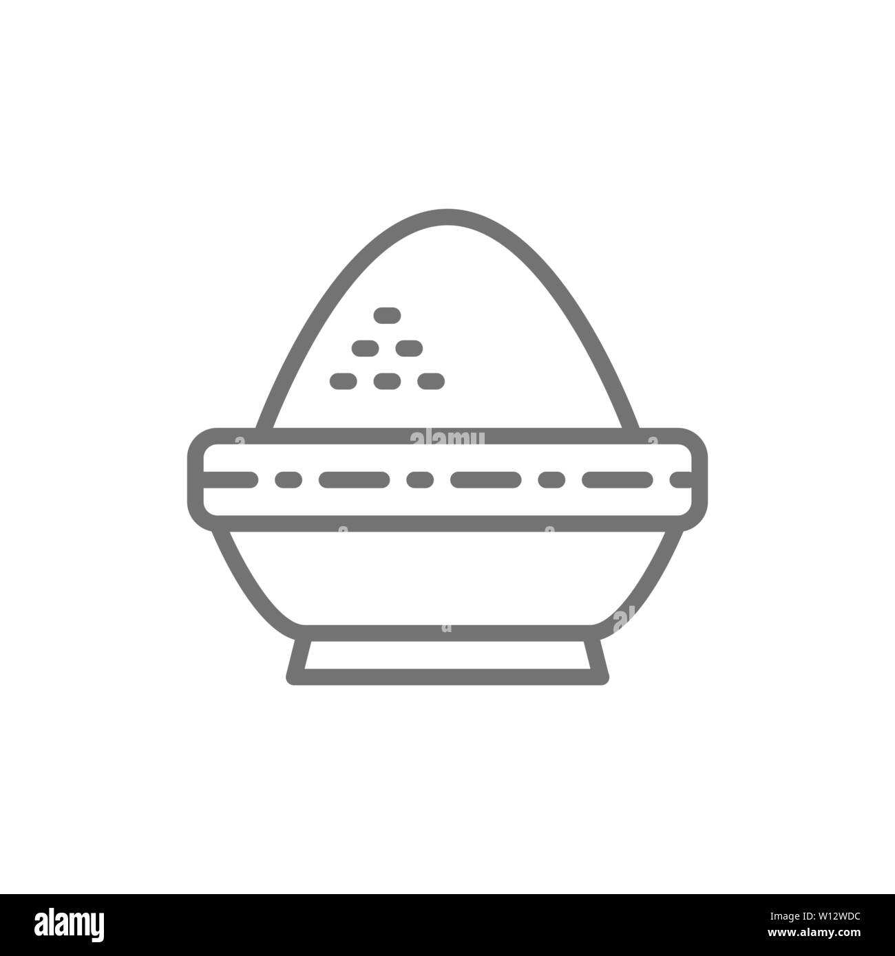 Dans un bol de riz, l'icône de la ligne de la cuisine indienne. Illustration de Vecteur
