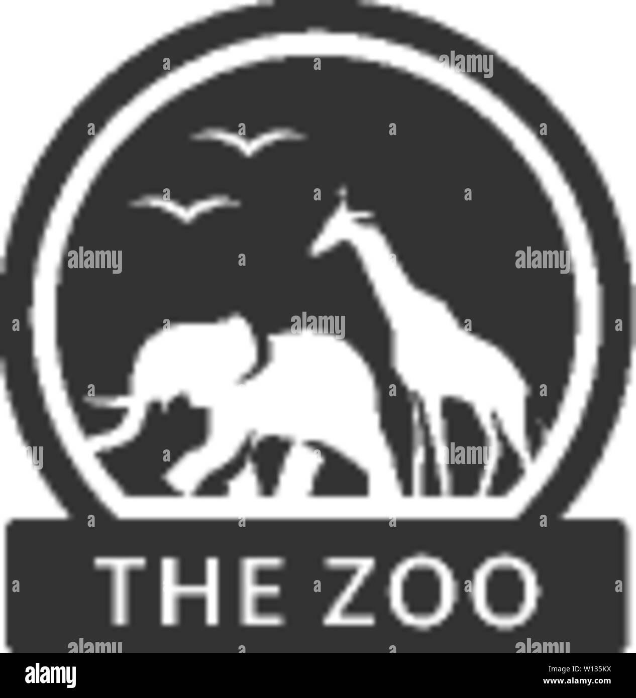 Gate Zoo en couleur unique. Parc animalier Safari Illustration de Vecteur