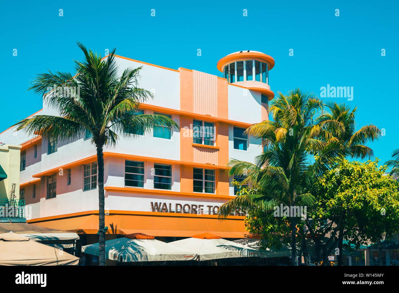 Détail de l'hôtel Waldorf Towers Hotel à Miami South Beach Floride USA Banque D'Images