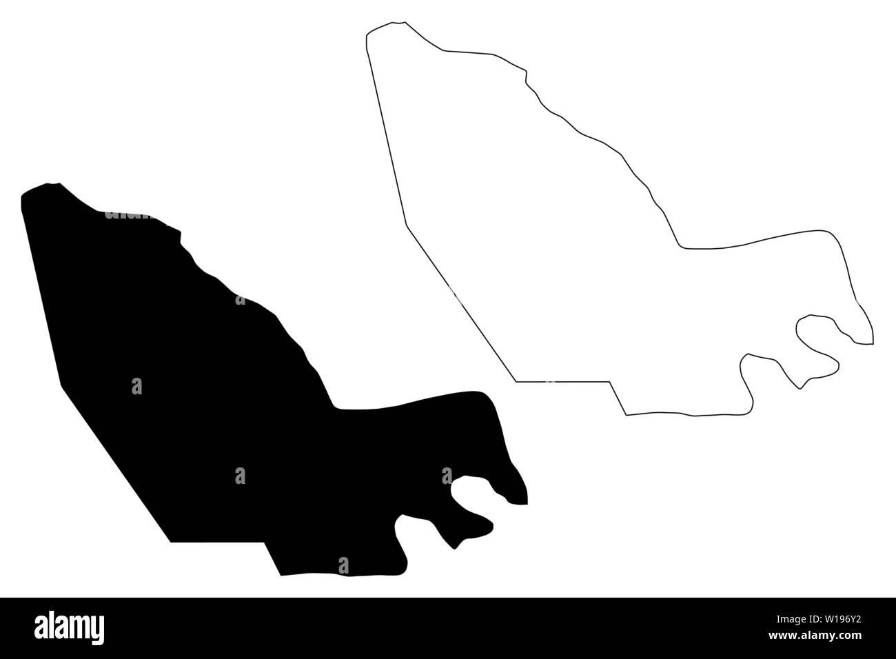 Région de l'Alc (régions du Tchad, République du Tchad) carte vector illustration gribouillage, croquis Lac map Photo Stock