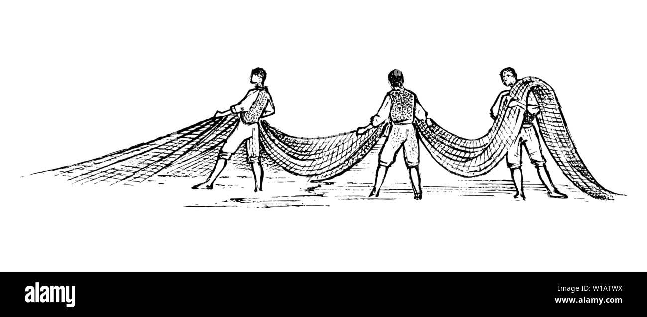 Pêche en Grèce. Les hommes avec des filets de pêche. Gravé à la main vintage esquisse pour poster, une bannière ou un site web. Photo Stock