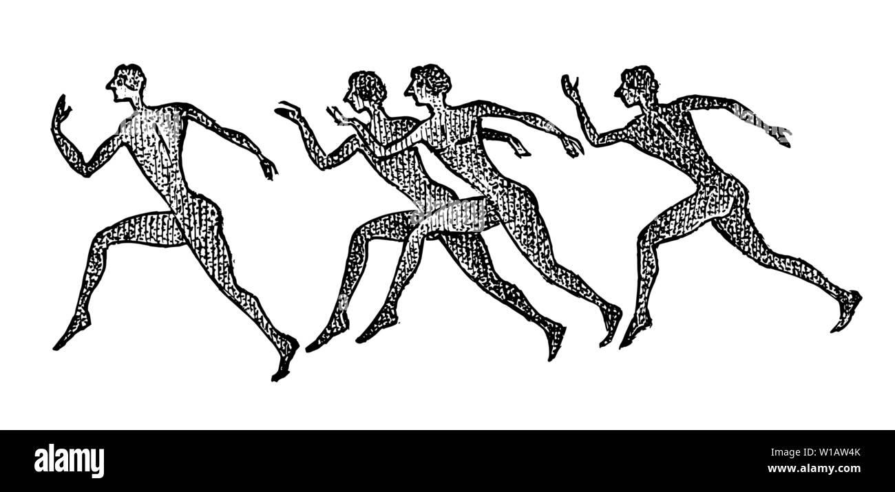 Les coureurs de marathon grecque dans un style vintage. Un groupe de gens actifs en Grèce. Le concept de jeux de sport. La culture grecque. Croquis gravé à la main Photo Stock