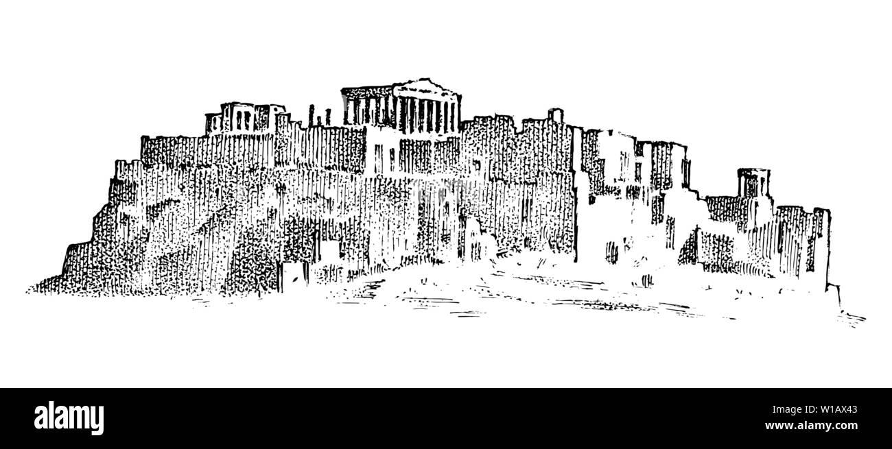 Paysage montagnes et bâtiments en Grèce. Ancien antiquité la culture grecque. Double exposition. Croquis dessinés à la main, gravée dans un style vintage. Photo Stock