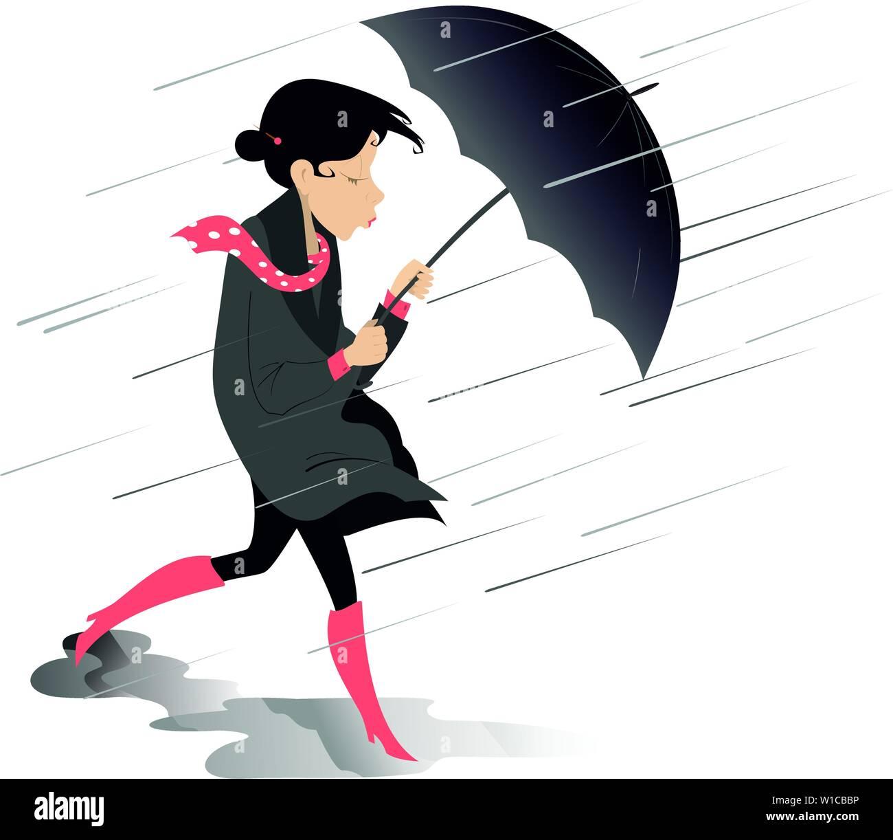 Fort Vent Pluie Et Femme Avec Parapluie Illustration Isole Tempete Pluie Et Femme Avec Parapluie Isolated On White Illustration Image Vectorielle Stock Alamy