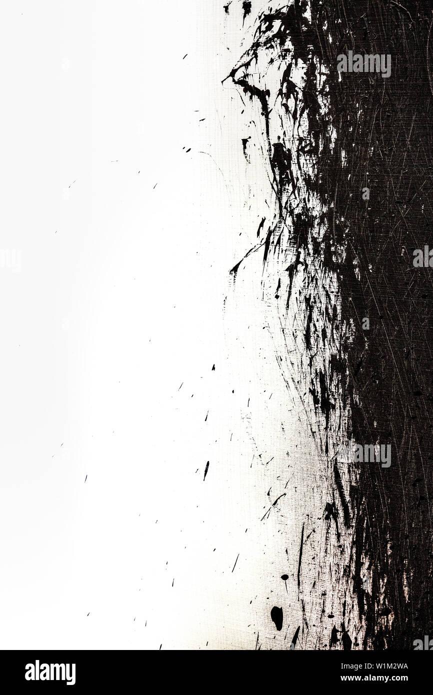 Contexte artistique avec en toile blanche et de pinceau de peinture noire Photo Stock