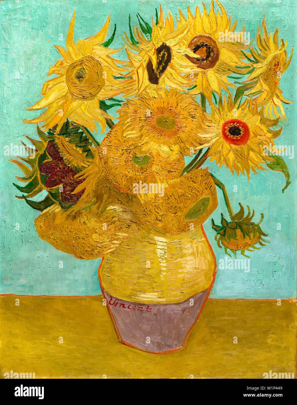 Vincent Van Gogh, Vase avec douze Tournesols, still life peinture, 1889 Banque D'Images