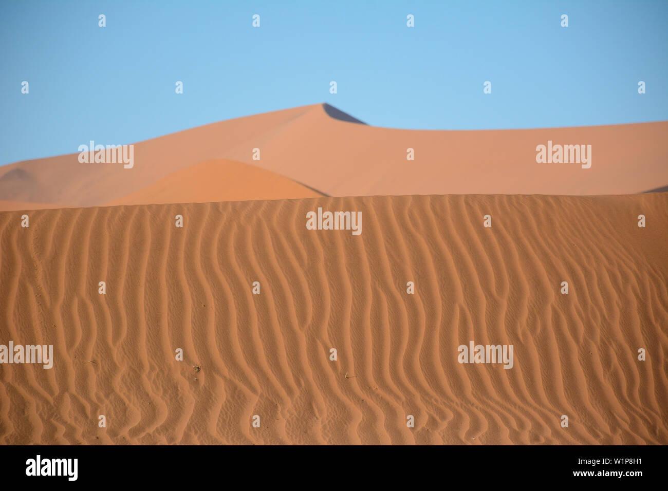 La recherche à travers les ondulations de sable au loin dune de sable près de Sossusvlei, Namibie Banque D'Images