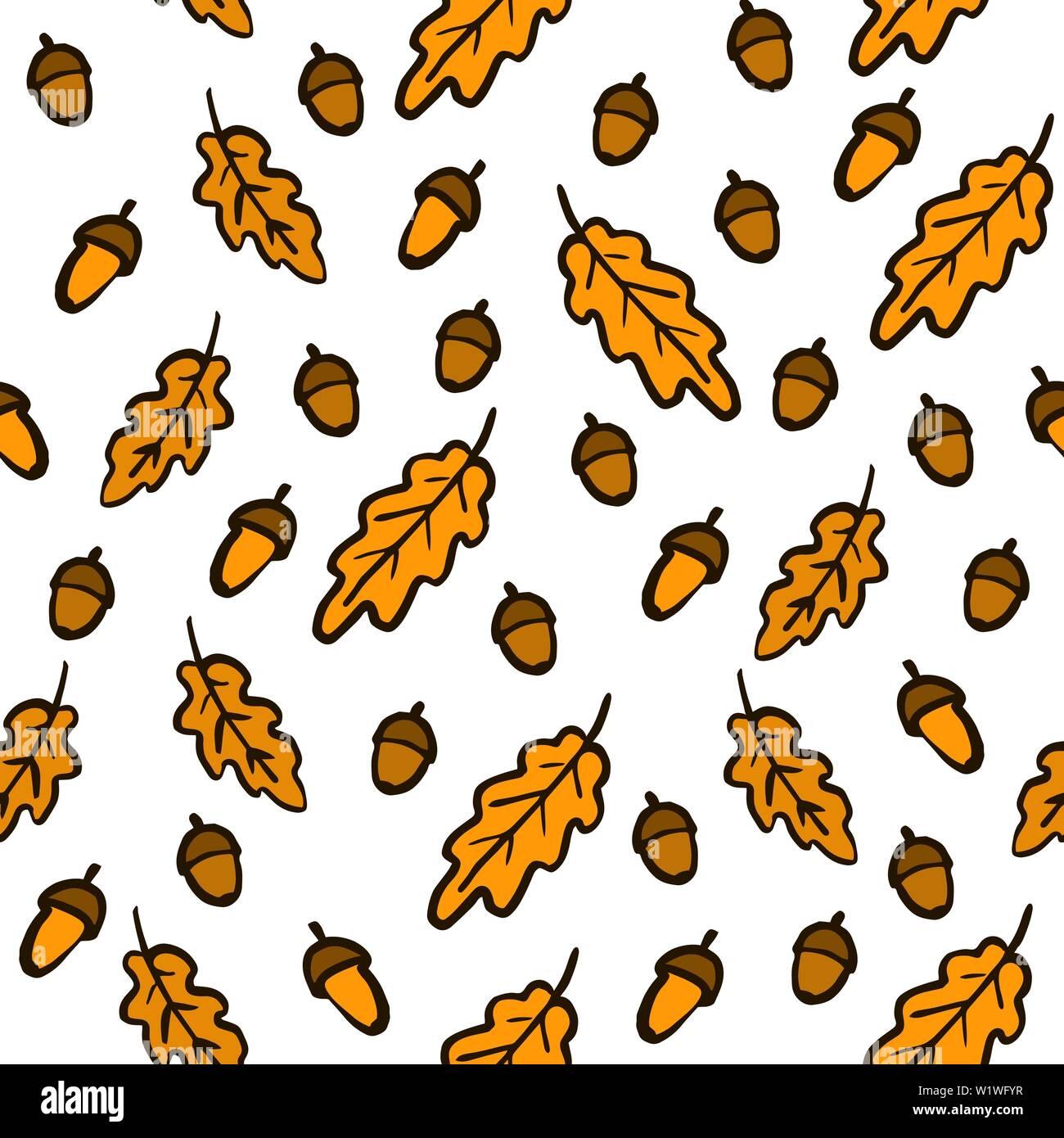 Dessin Avec La Main dessiner à main automne feuilles de chêne, glands et des