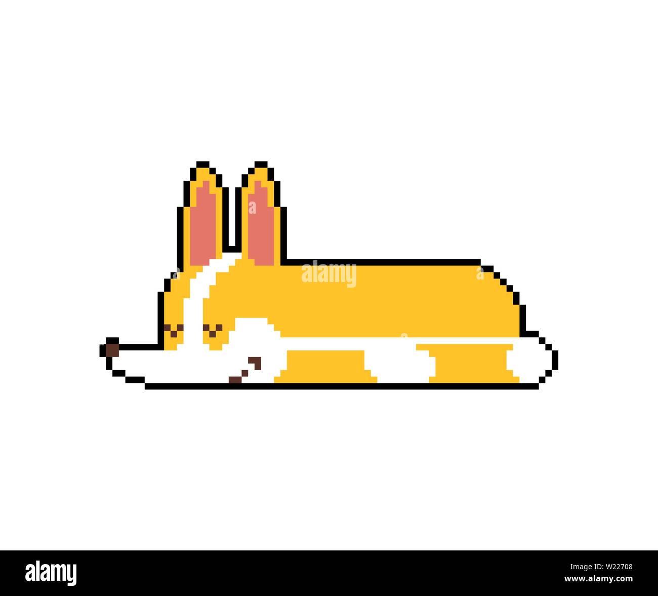Couchage Corgi Pixel Art Endormi Petit Chien Cartoon Animal