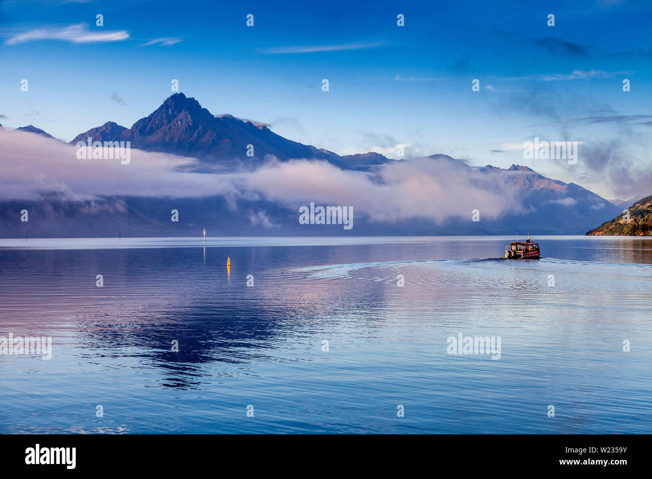 Le lac Wakatipu, Queenstown, Otago, île du Sud, Nouvelle-Zélande Banque D'Images