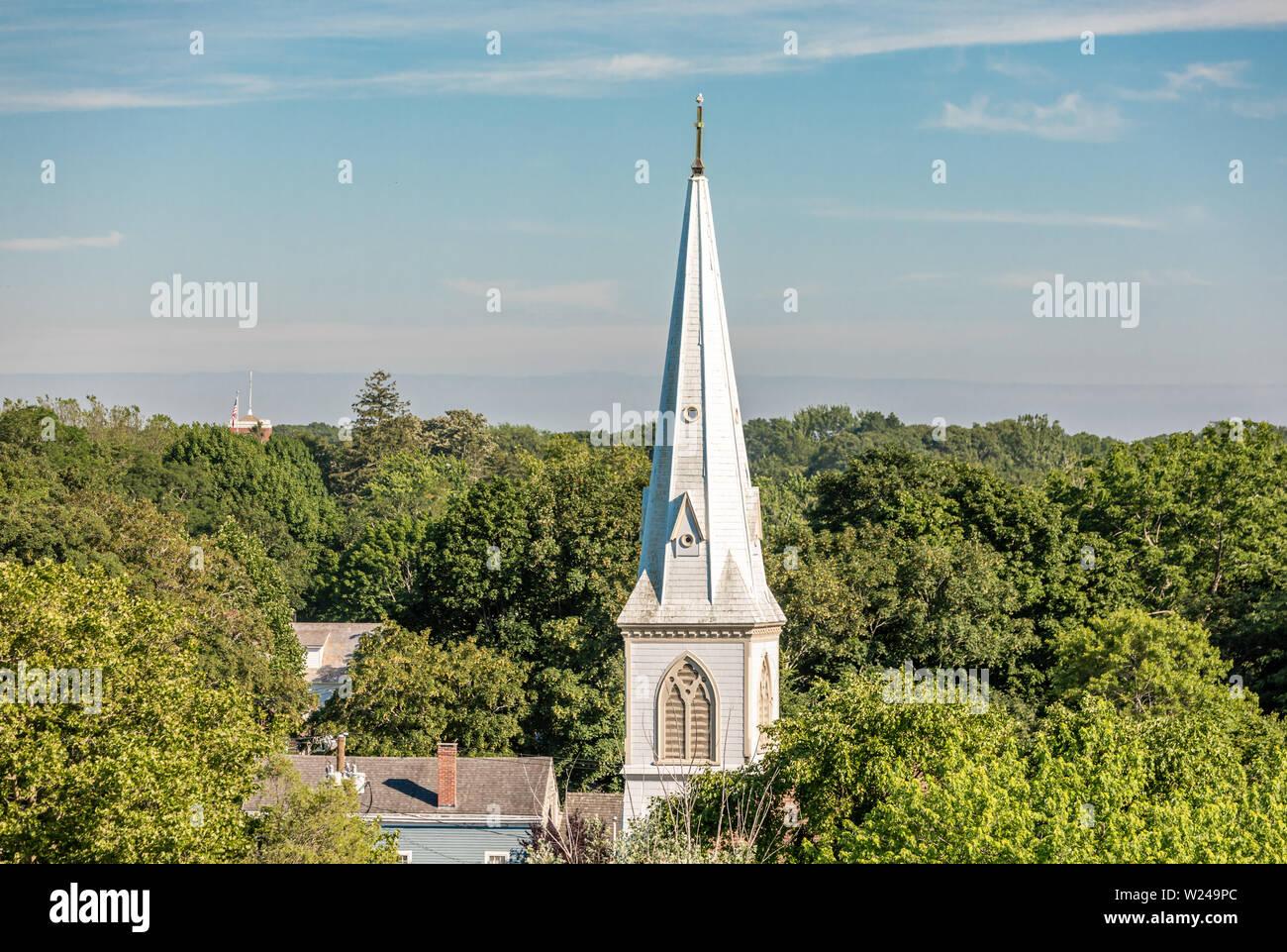 Clocher de l'église à Sag Harbor, NY Banque D'Images