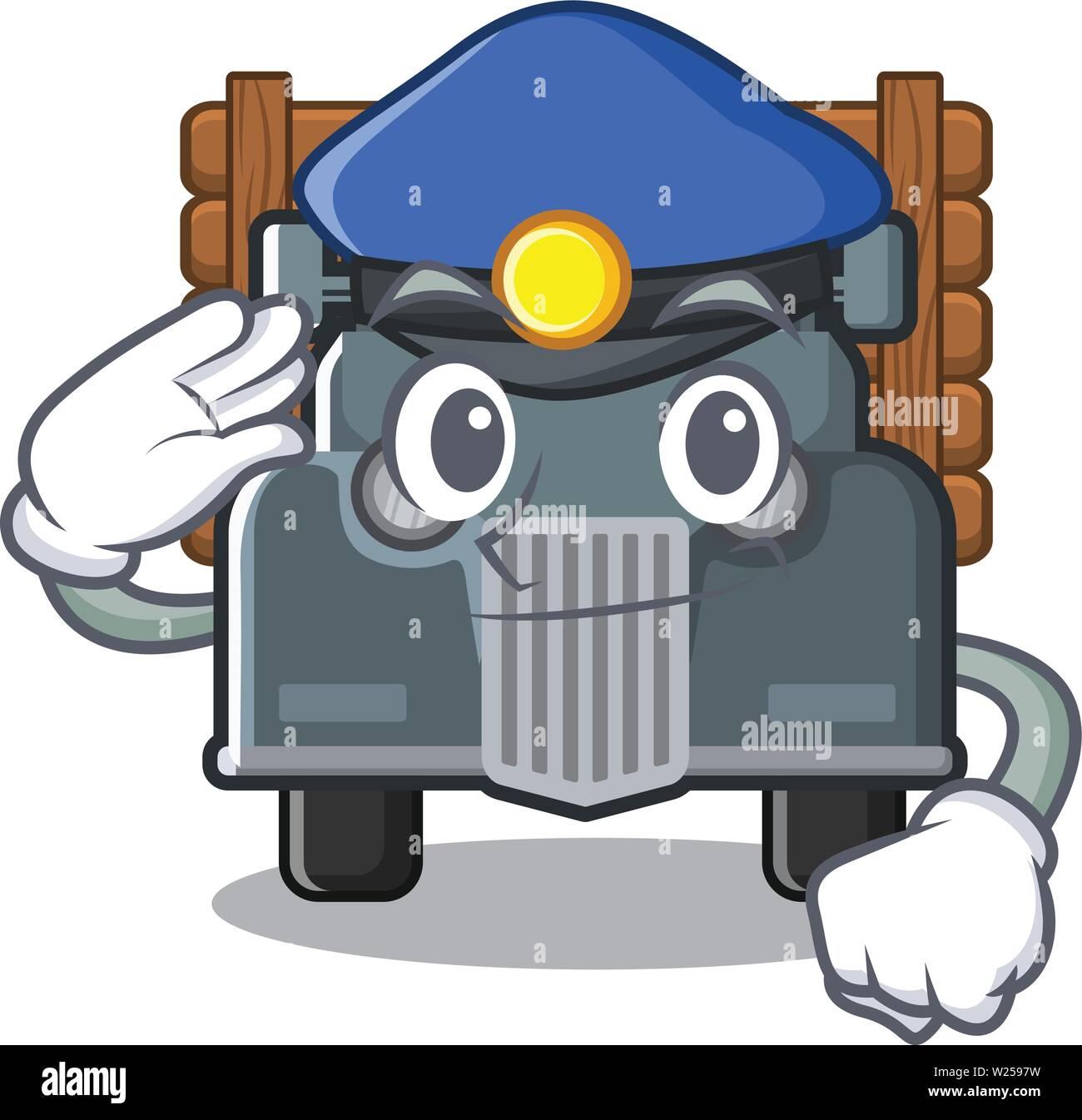 Vieux Camion De Police Isoles Dans Le Dessin Anime Vecteurs Et