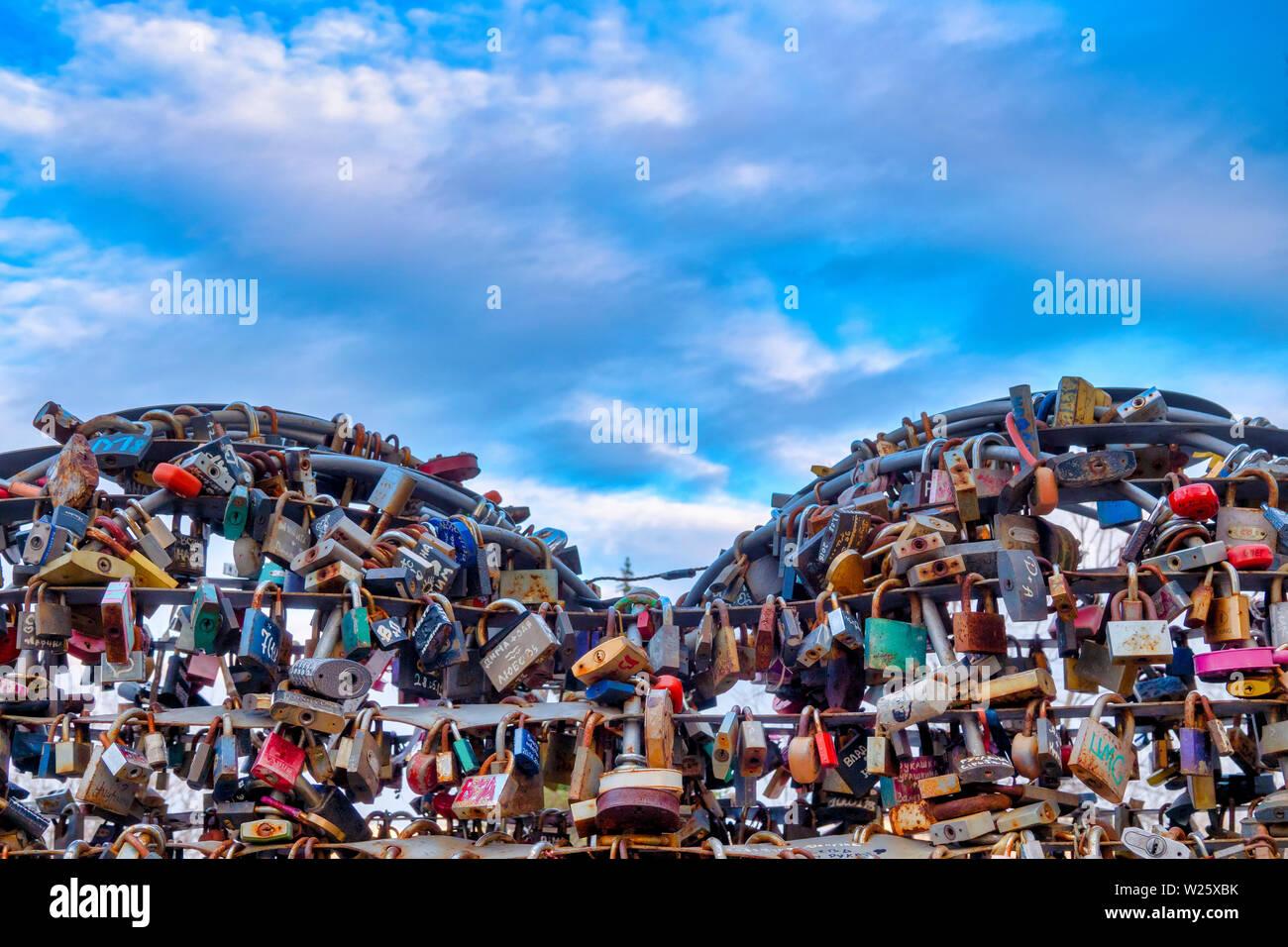 Coeur d'amour d'Odessa sur la mère en droit ,pont Odessa, Ukraine Photo Stock