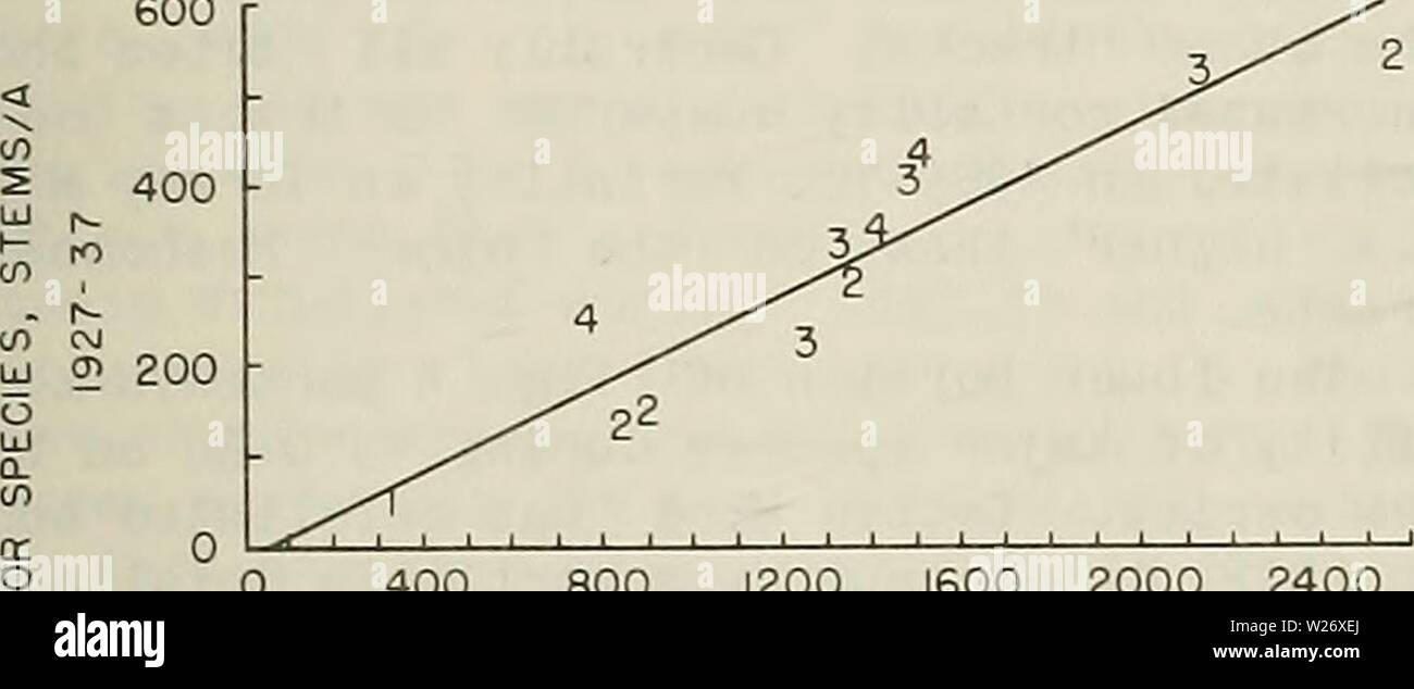 Image d'Archive de la page 4 de la défoliation et de la mortalité dans le Connecticut. La défoliation et la mortalité dans les forêts du Connecticut defoliationmorta00étape Année: 1981 la défoliation et la mortalité, mais que la mortalité sur les sites plus humides en général se trouve en dessous de la ligne de tendance alors qu'il se situe au-dessus de sur le sites plus secs. Sur tous les sites sauf muck, la mortalité annuelle moyenne des principales espèces était d'un peu plus de 3 pour cent. Le plus haut, 3 à 5 pour cent, s'est produite sur le site humide moyen. variait de un peu moins de 2 à un peu plus de 3 p. 100 au cours de deux séries. Parce qu'apparemment, la mortalité est influencé par l'âge Banque D'Images