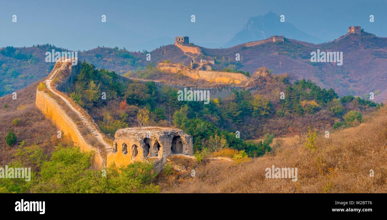 La Chine, la municipalité de Beijing, Miyun County, Grande Muraille de Chine (site du patrimoine mondial de l'UNESCO), section Jinshanling à Gubeikou Photo Stock