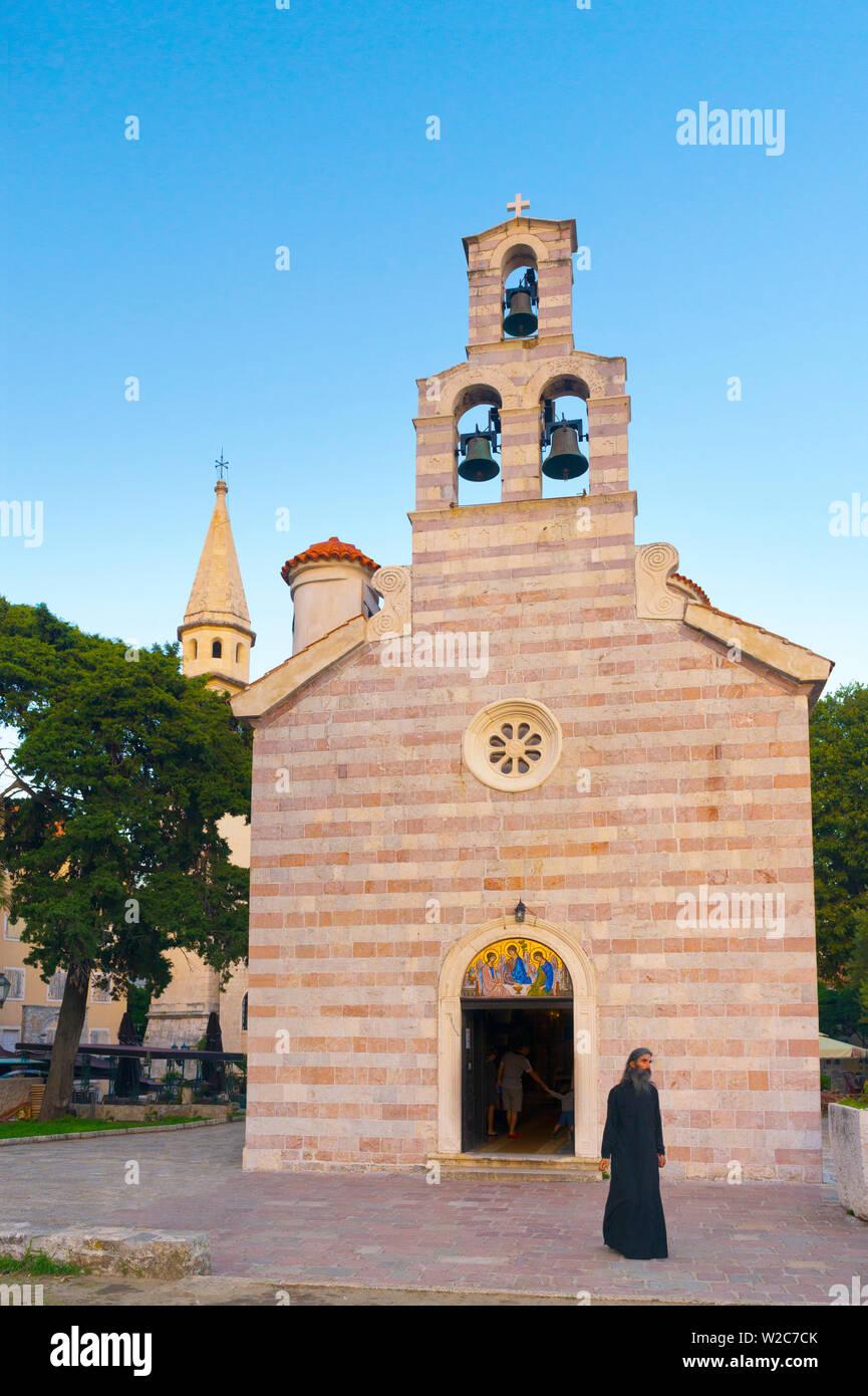 Le Monténégro, Budva, Vieille Ville, Stari Grad, l'église de la Sainte Trinité, Crkva Sv. Trojice Photo Stock