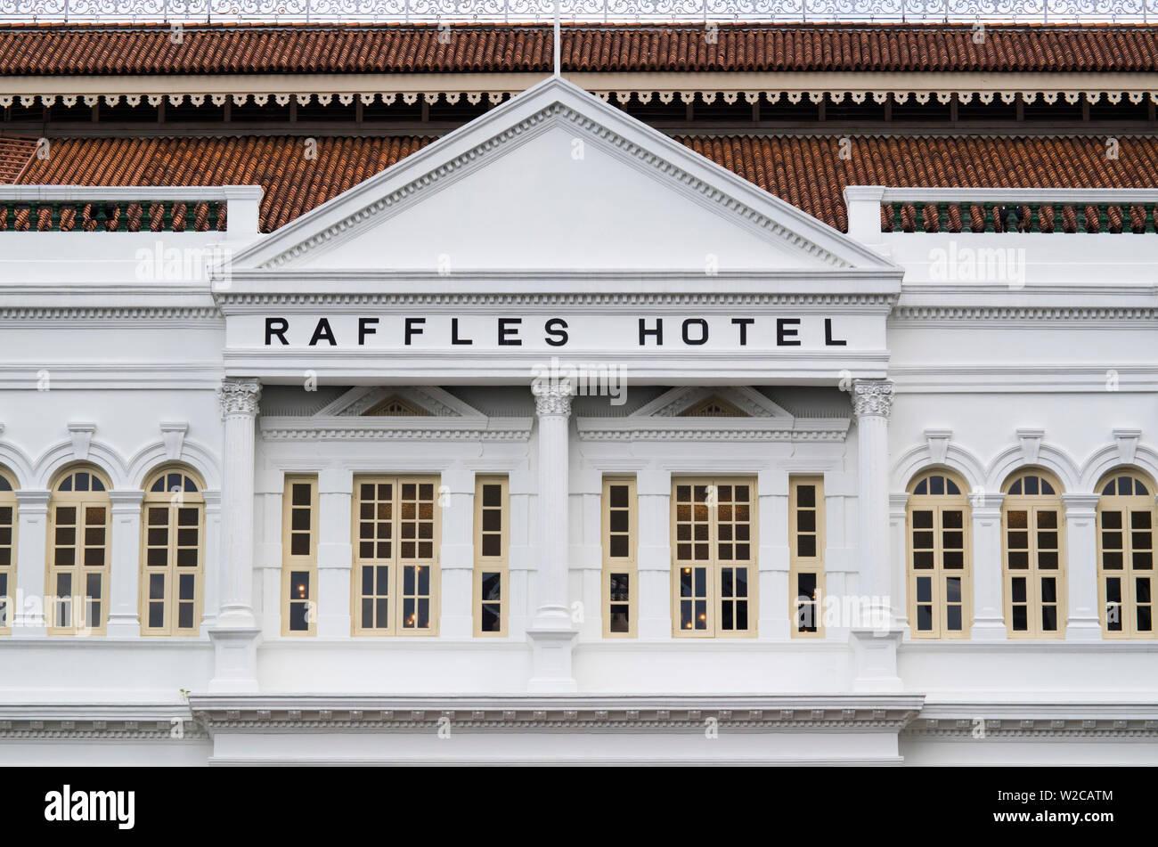 Singapour, l'Hôtel Raffles, extérieur Banque D'Images