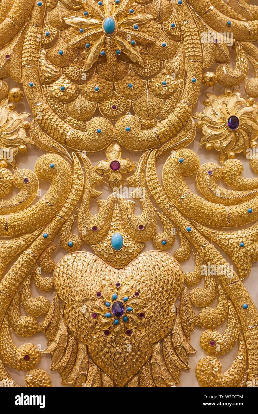 Émirats Arabes Unis, Dubai, Deira, Souk de l'or, des bijoux d'or Photo Stock
