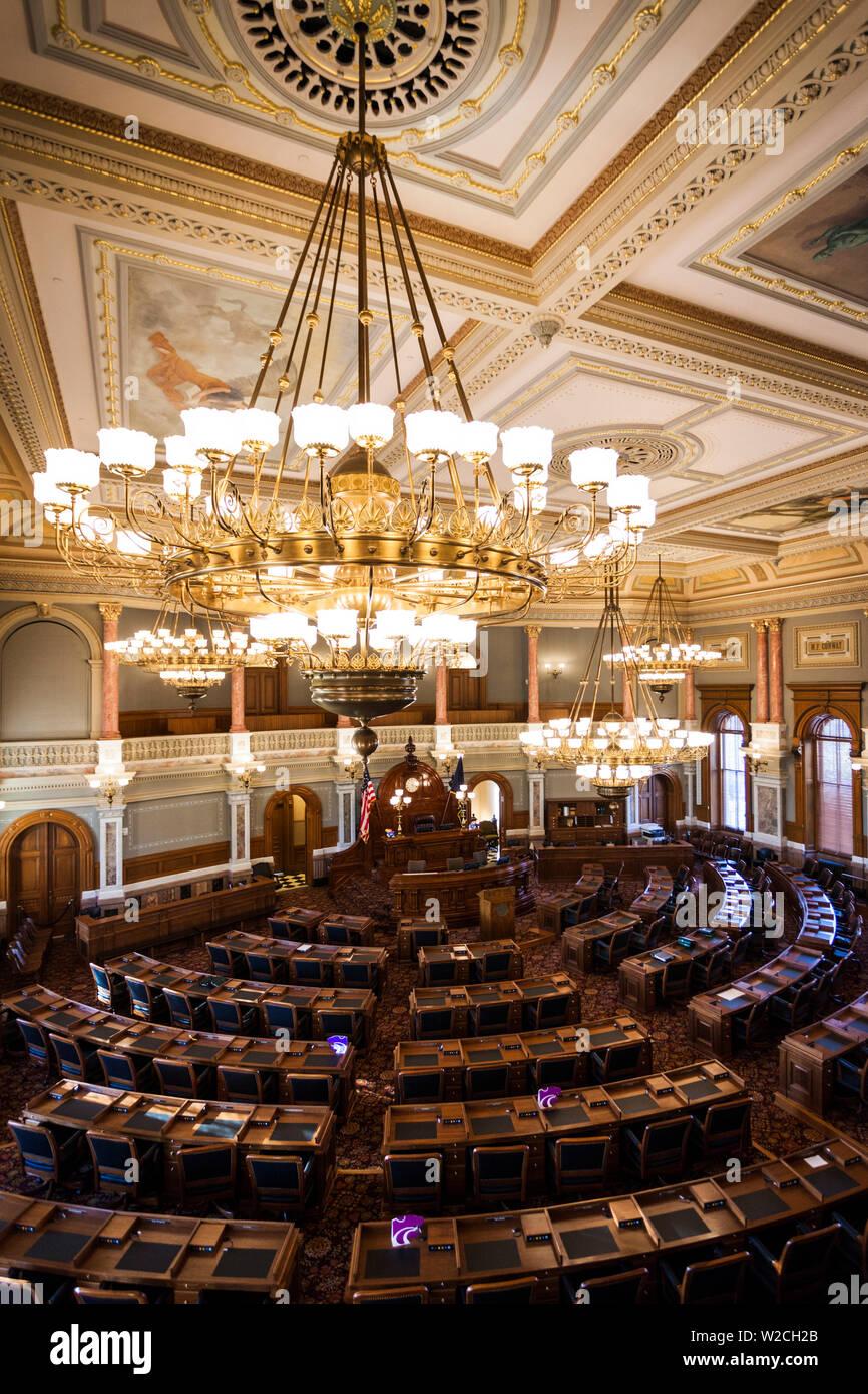 USA, Kansas, Topeka, Kansas State Capital, Chambre de la Chambre des représentants de l'État Banque D'Images