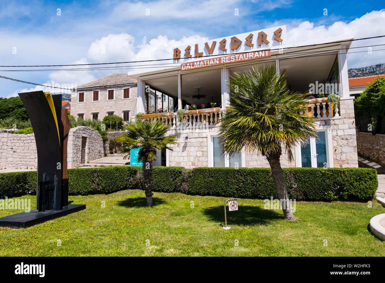 Restaurant, Bol, Brac, Dalmatie, Croatie Photo Stock