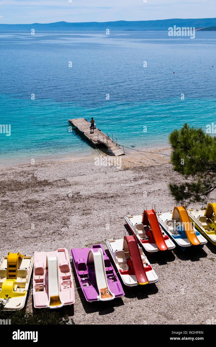 Pédalos, Zlatni rat, Bol, Brac, Dalmatie, Croatie Photo Stock
