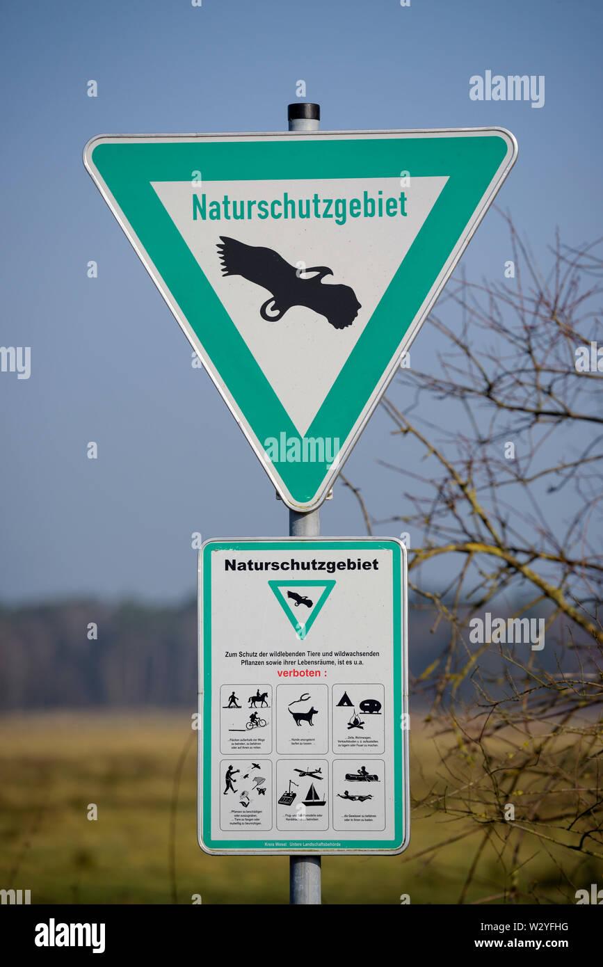Signe de la réserve naturelle, février, Rhénanie du Nord-Westphalie, Allemagne Banque D'Images