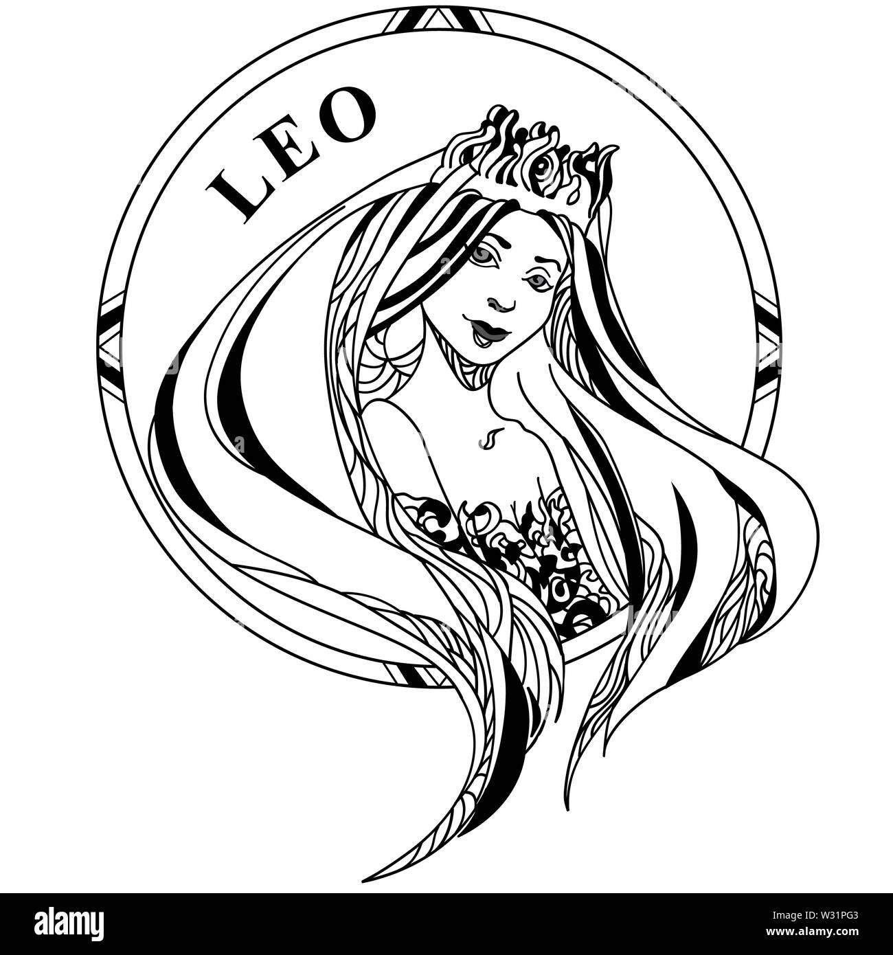 Coloriage Fille Cheveux Longs.Illustration Vecteur De Signe Zodiacal Lion Belle Jeune