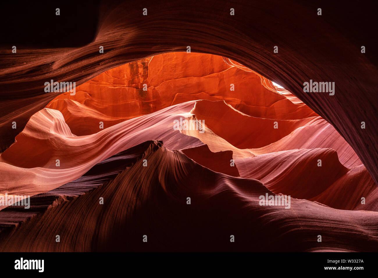 L'emplacement de l'Arizona canyon paysages à Antelope Canyon, États-Unis d'Amérique Banque D'Images