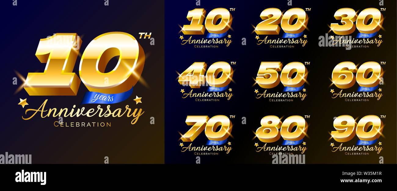 Série de numéros d'or anniversaire, logo, emblème, modèle de conception pour poster, bannière, vector illustration isolé. Illustration de Vecteur