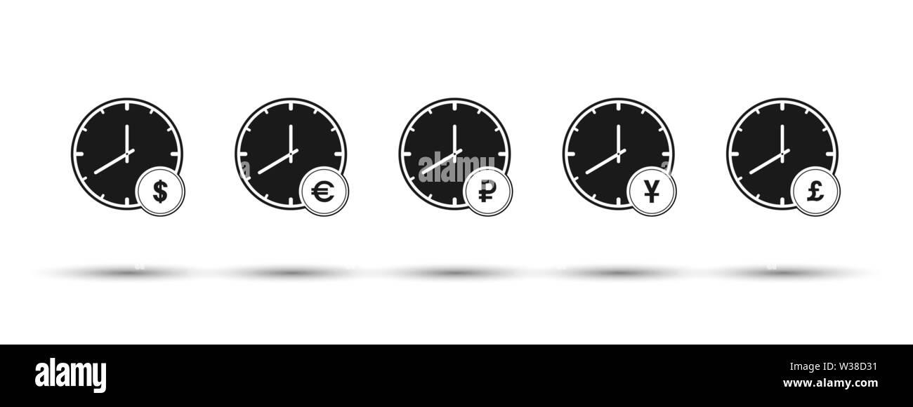 Ensemble d'heures avec les symboles monétaires. Télévision design simple Photo Stock