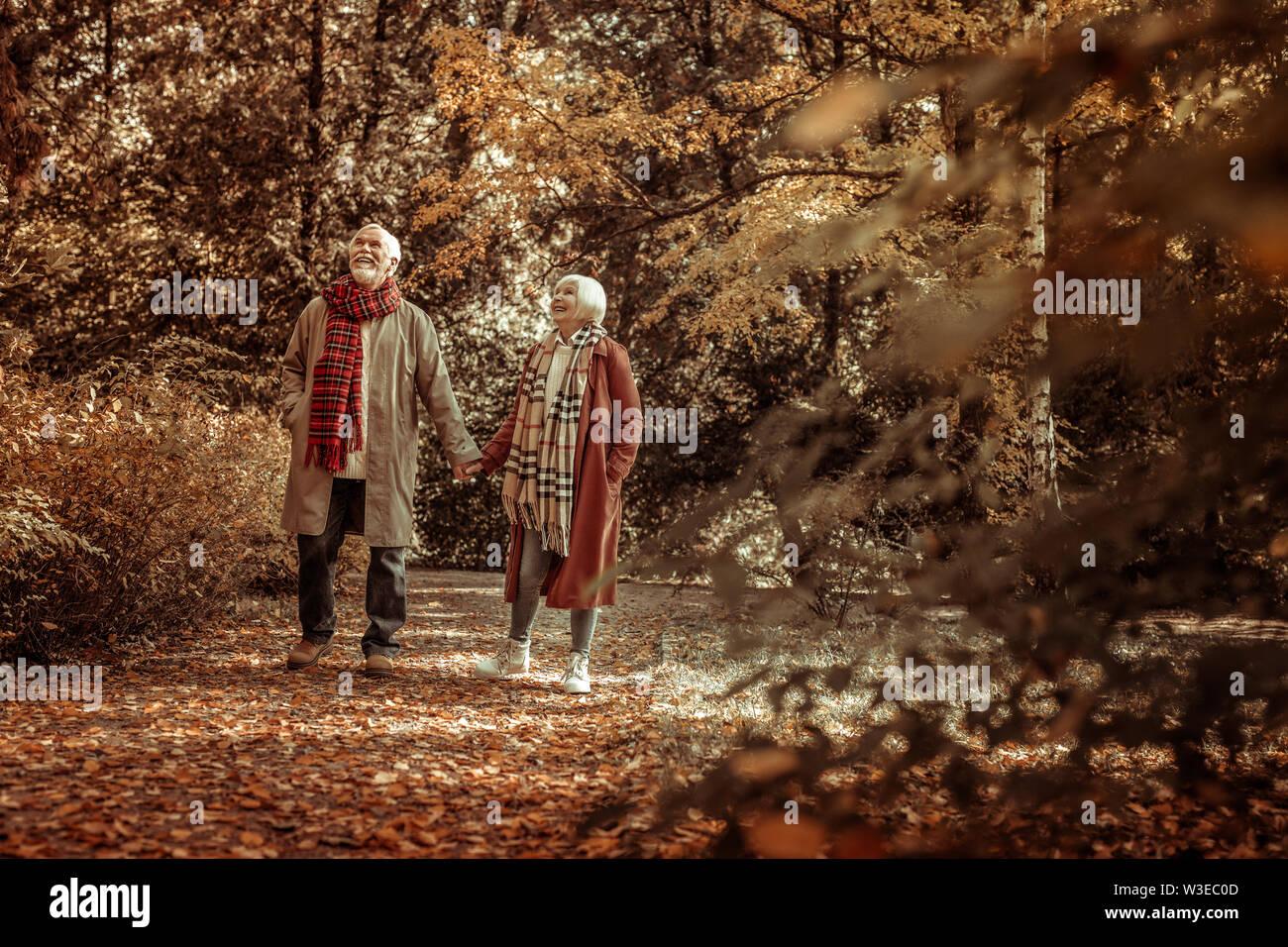 Heureux de prendre un couple de personnes âgées stoll dans un parc. Photo Stock