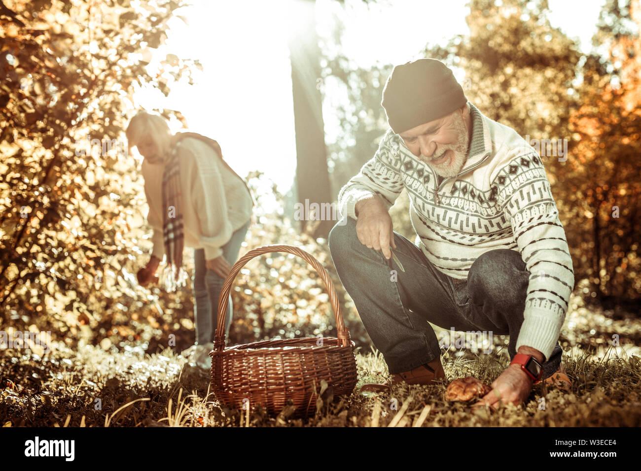 Heureux homme âgé va couper un champignon. Photo Stock