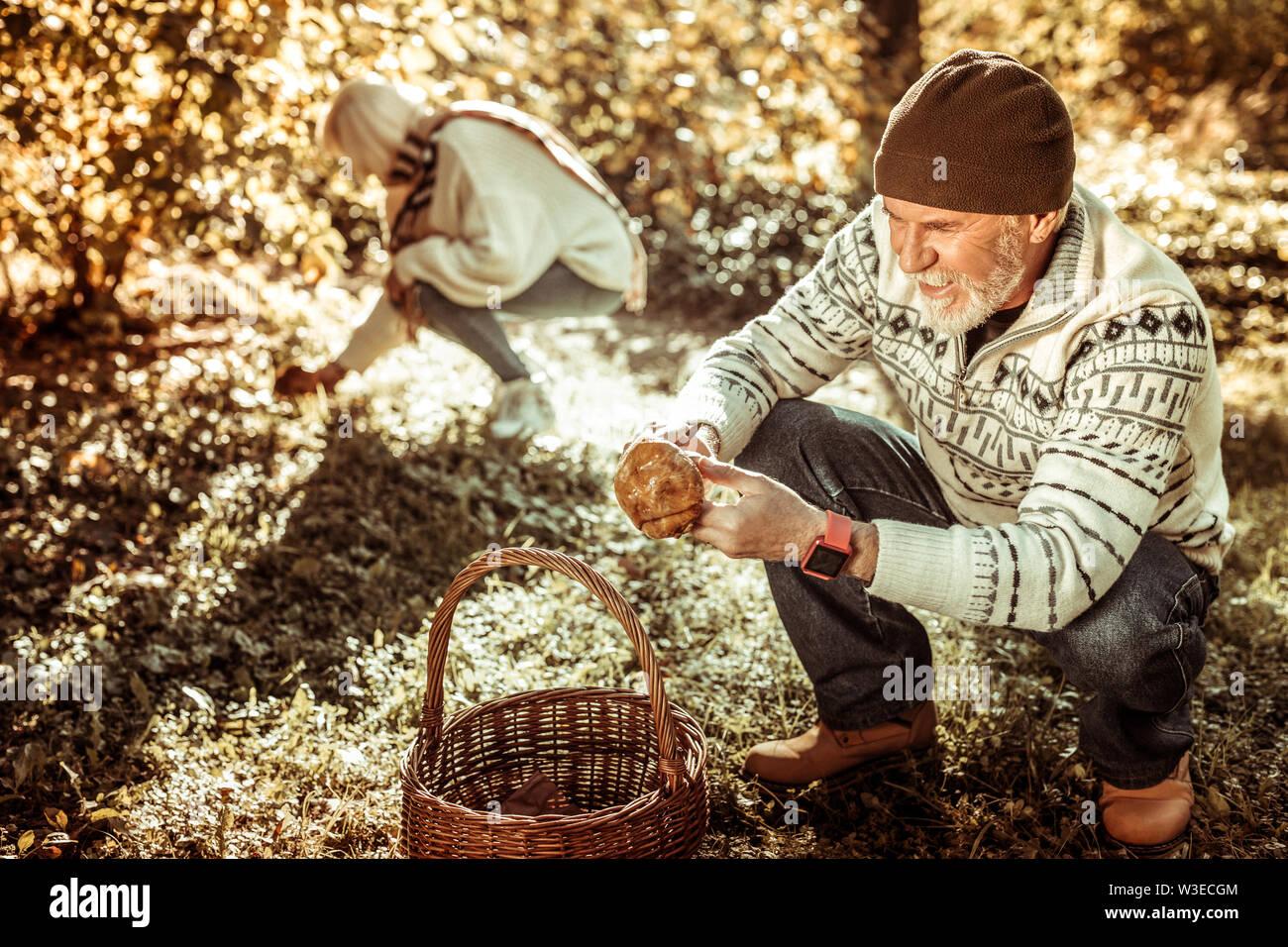 Couple de personnes âgées cueillette de champignons dans la forêt. Photo Stock