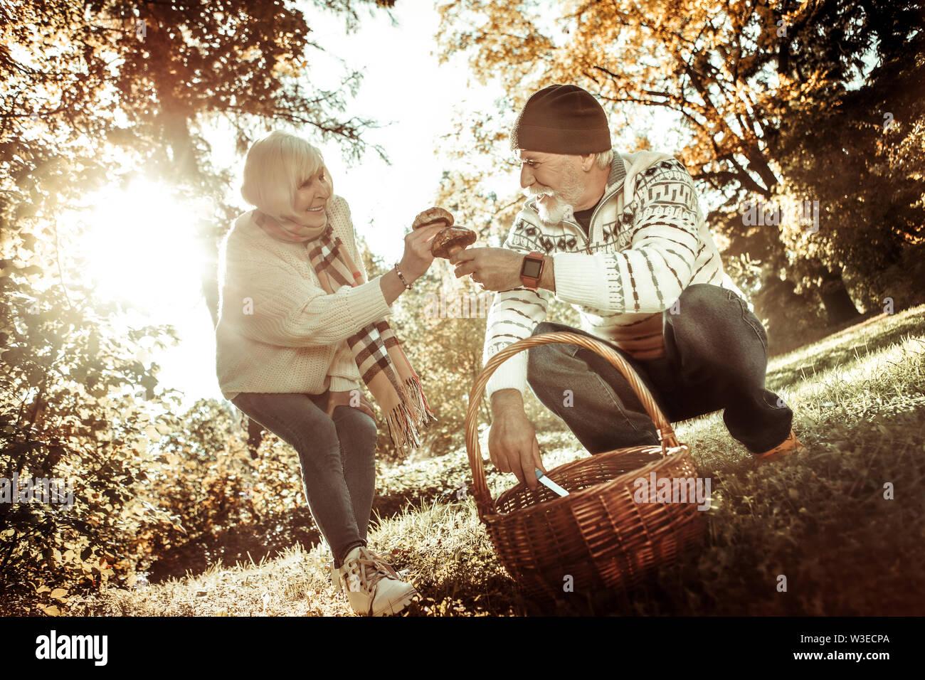 Couple cueillette de champignons et de les donner à l'autre. Photo Stock
