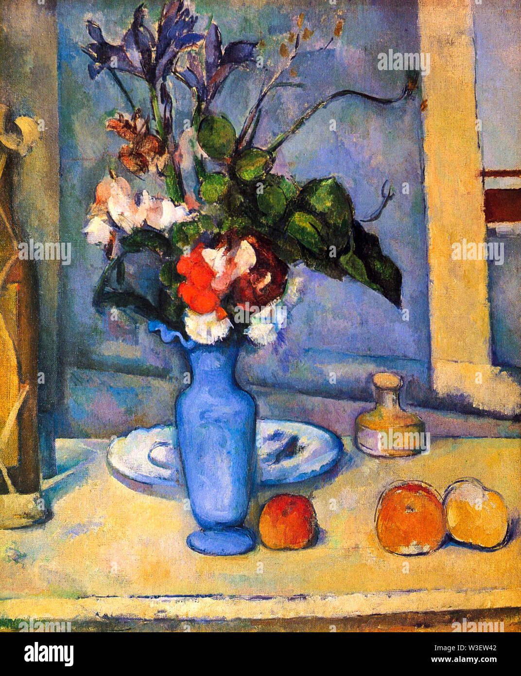 Paul Cézanne, le Vase Bleu, still life Painting, 1885-1887 Photo Stock