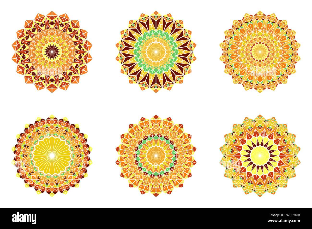 Abstract colorful mosaic mandala symbole triangle set - tour polygonale vecteur ornement design elements Photo Stock