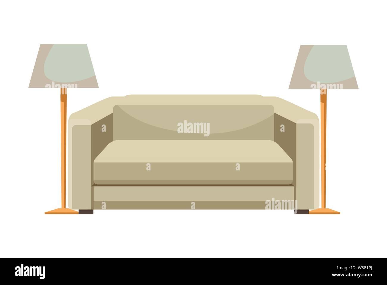 Chambre canapé avec lampes de décoration de la vector illustration graphic design Photo Stock