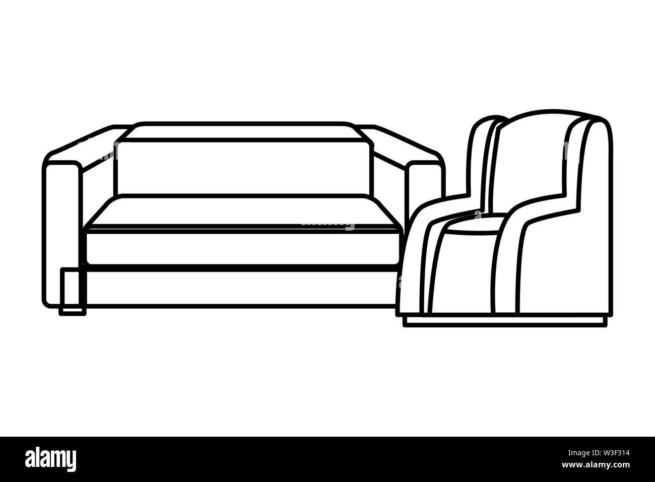 Chambre Ensemble de meubles fauteuils canapé vector illustration graphic design Photo Stock