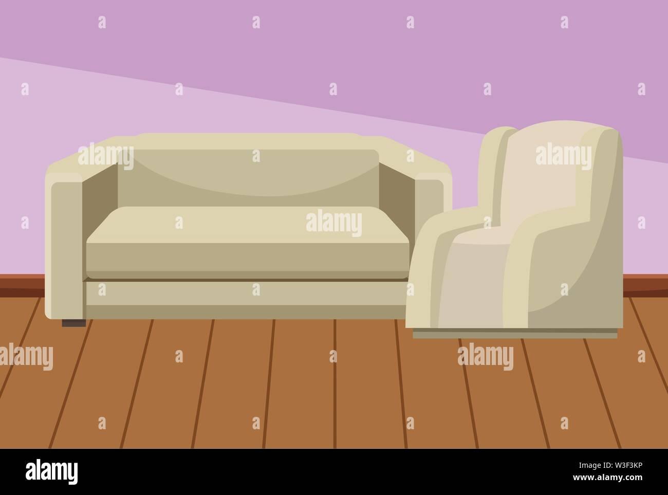 Chambre ensemble de canapé fauteuils accueil mobilier intérieur bâtiment paysage avec plancher en bois ,vector illustration graphic design. Photo Stock