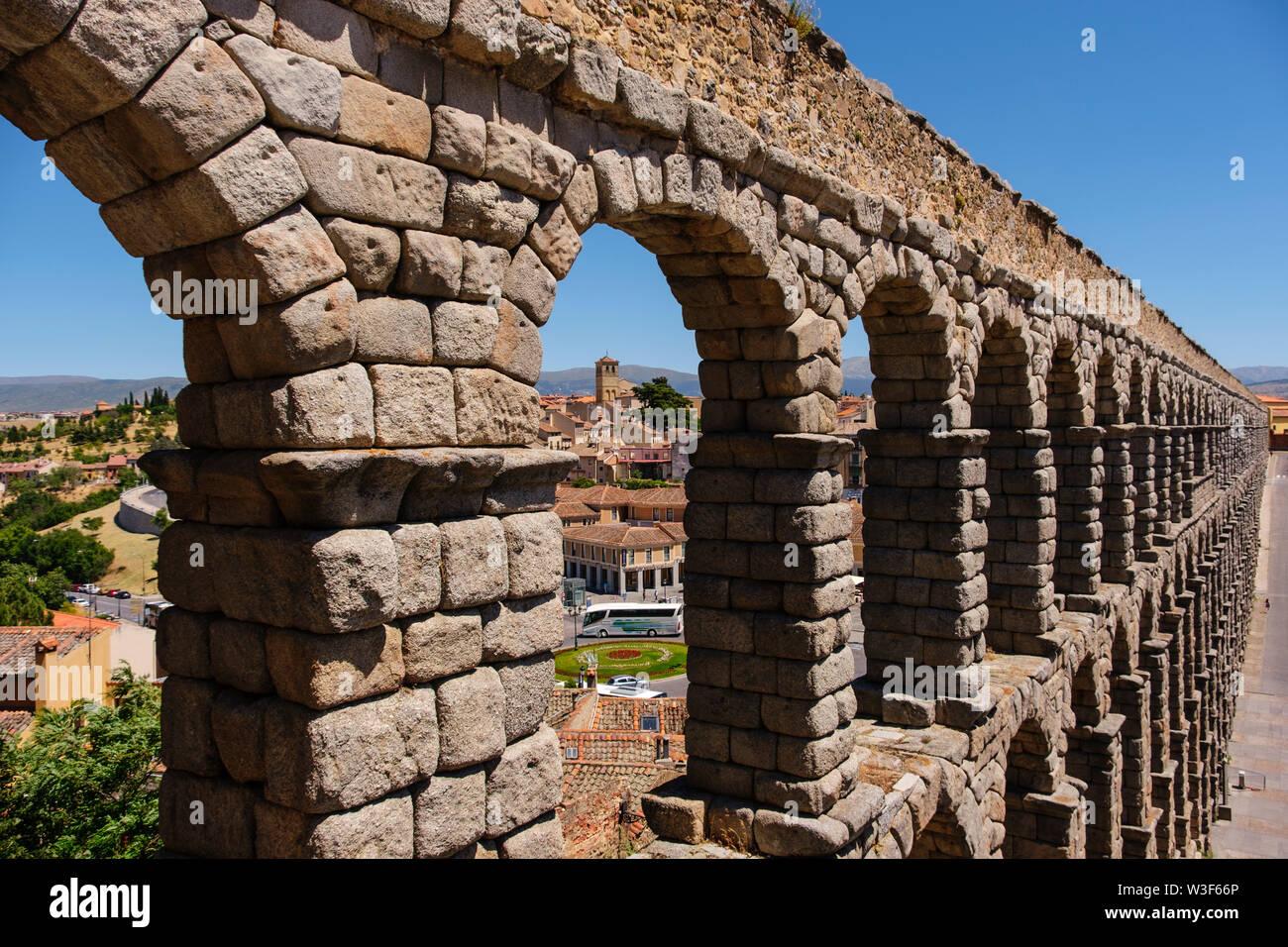 Aqueduc romain ancien, UNESCO World Heritage Site. La ville de Ségovie. Castilla León, Espagne Europe Banque D'Images