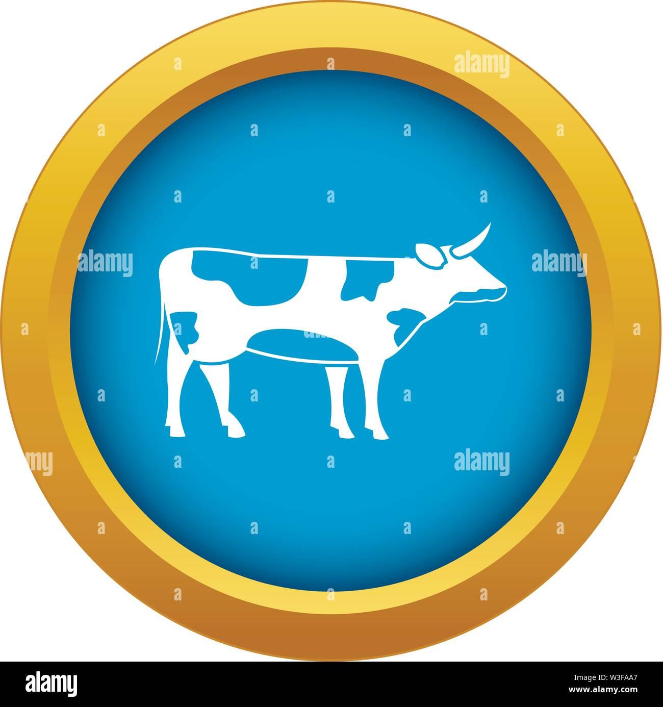 L'icône de vache Suisse isolé vecteur bleu Photo Stock